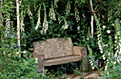 SIMPLE STONE SEAT IN SECLUDED CORNER SURROUNDED BY FOXGLOVES. THE EVENING STANDARD GARDEN. DESIGNER: XA TOLLEMACHE. CHELSEA 97