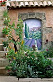 ARCHWAY WITH TROMPE LOEIL PAINTING BY JOHN SIMPSON IN THE B.SKY.B GARDEN DESIGNED BY FIONA LAWRENSON. CHELSEA 97