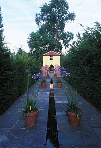 THE_TOWER_SEEN_FROM_THE_RILL_WITH_AGAPANTHUS_AFRICANUS_IN_A_POT_ARROW_COTTAGE__HEREFORDSHIRE