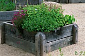 RAISED BED IN THE HERB GARDEN MADE IN ENGLISH OAK  WITH CHINESE CANE CLOCHE  DIANTHUS  VARIOUS TEUCRIUM & TROPAEOLUM. THE ABBEY HOUSE  WILTSHIRE.