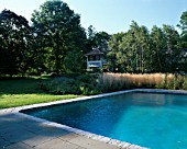 VIEW ACROSS SWIMMING POOL TOWARDS HOUSE WITH BORDER OF CALAMAGROSTIS ACUTIFLORA KARL FOERSTER. DESIGNER: JAMES VAN SWEDEN. AMERICA