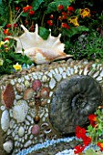 DETAIL OF SHELL & FOSSIL RAISED BORDER WITH LARGE SHELL  AQUELIGIAS & TROPAEOLUMS.  WARREN FARM CENTRES THE ESSENCE OF LIFE  GARDEN DESIGNED BY ROSAMOND PAGE. CHELSEA 2000