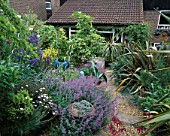 SLOPING BACK GARDEN WITH GRAVEL AND RAILWAY SLEEPER PATH  NEPETA SIX HILLS GIANT  AGAVE AMERICANA  ANCHUSA LODDON BLUE AND PHORMIUM. ROBIN GREEN & RALPH CADES GARDEN  LONDON