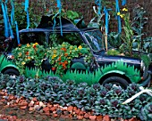 OLD CAR PLANTED WITH NASTURTIUMS AND CABBAGE. GARDENING WHICH? GARDENS FOR PEOPLE   HAMPTON COURT 2000.