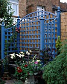 BLUE TRELLIS SEAT WITH LILIES BACKED BY BAMBOO FENCE. DESIGNER ANDREW ANDERSON