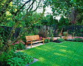 WOODEN BENCH WITH ANGULAR FORMAL LAWN  TERRACOTTA PINK RENDERED WALLS  APPLE TREE  PHORMIUM TENAX PURPUREUM  SEDUMS  VERBENA BONARIENSIS. DESIGN: SARAH LAYTON