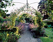 EASTLEACH HOUSE GARDEN  GLOUCESTERSHIRE: ROSE ARCHES WITH RAMBLING ROSE SEAGULL AND ROSA THE FAIRY AND NEPETA SIX HILLS GIANT