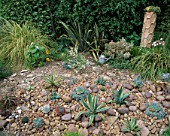 RED GABLES  WORCESTERSHIRE: THE COBBLED GARDEN WITH AGAVES AND ECHEVERIAS