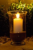 STORM LANTERN WITHG CANDLE. DEVELOPMENT BY CANDY BROTHERS. LIGHTING BY LIGHTING DESIGN INTERNATIONAL.