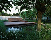 LAURENT- PERRIER/HARPERS & QUEEN GARDEN  CHELSEA 2001. LAKE  WILD MEADOW PLANTING AND RED SANDSTONE TERRACE. TOM STUART-SMITH