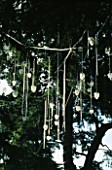 FJORD  BY STEPHEN WOODHAMS: GLASS CHANDELIERS HANGING FROM CEDAR OF LEBANON TREES. WESTONBIRT FESTIVAL OF GARDENS 2002