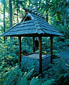 JAPANESE BELL TOWER IN THE WOODLAND. DESIGNERS: ILGA JANSONS AND MIKE DRYFOOS
