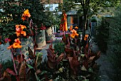 VIEW TOWARDS FLAT WITH ORANGE CANNAS AND CONCRETE DRAINAGE CONTAINERS PLANTED WITH BUSY LIZZIES. DESIGNER: STEPHEN WOODHAMS