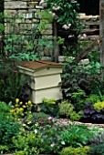 BEEHIVE SURROUNDED BY HERBS INCLUDING ANGELICA IN THE HERB SOCIETYS GARDEN  CHELSEA 2003. GARDEN DESIGNED BY CHERYL WALLER