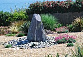 SEASIDE GARDEN  GUERNSEY: VIEW OUT TO SEA AND THE ISLAND OF SARK WITH GRAVEL GARDEN  SLATE WATER FEATURE  PEBBLES AND THRIFT