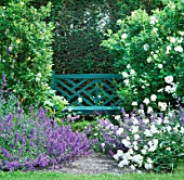 SECLUDED SEAT AT TINTINHULL HOUSE GARDEN  SOMERSET