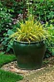 PETTIFERS  OXFORDSHIRE: GREEN GLAZED CONTAINER PLANTED WITH HAKONECHLOA MACRA ALBOAUREA
