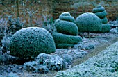 WEST GREEN HOUSE GARDEN  HAMPSHIRE: CLIPPED BOX TOPIARY SHAPES IN THE ALICE IN WONDERLAND GARDEN IN FROST IN WINTER