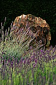 DOWNDERRY NURSERY  KENT: METAL SHEEP BY COLIN COMRIE SURROUNDED BY LAVENDER
