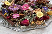 DESIGNER: CLARE MATTHEWS - POTPOURRI - GLASS DISH WITH DRIED AND PRESSED FLOWERS