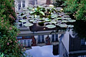 AMSTERDAM: PRIVATE GARDEN - POOL WITH WATERLILIES AND REFLECTION OF AMSTERDAM HOUSES