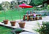 GARDEN DESIGNER CLARE MATTHEWS RELAXES WITH NANCY AND HARRIET AT A GREEN OAK TABLE WITH BENCH ON THE STONE TERRACE IN HER DEVON GARDEN. OLIVE TREES IN CONTAINERS