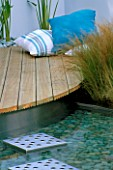 HAMPTON COURT 2004/ DAVES PLACE DESIGNED BY KERRIE JOHN: POOL  DECK AND CUSHIONS