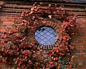 PACKWOOD HOUSE  WARWICKSHIRE: AUTUMNAL VINE AROUND SMALL WINDOW IN TOWER