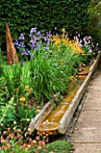 WATER FEATURE: A RILL RUNS ALONGSIDE A PATH WITH IRISES  PRIMULAS AND GEUMS.IN THE BACKGROUND IS CHARRED SPIRES  A TIMBER SCULPTURE BY ALSION CROWTHER. WINGWELL NURSERY   RUTLAND