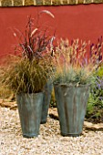 GROUP OF THREE CONTAINERS PLANTED WITH ORNAMENTAL GRASSES CAREX  PENNISETUM AND FESTUCA GLAUCA STAND IN GRAVEL IN FRONT OF RED WALL. CONTAINERS BY GREEN INTERIORS.