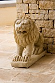 STONE LION FROM INDIA ON THE TERRACE: GINA PRICES GARDEN  CORFU