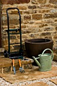 TOOLS FOR CONTAINER GARDENING - WATERING CAN  TROWEL SECATEURS AND TROLLEY