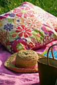 DESIGNER CLARE MATTHEWS: PINK BLANKET  HAT  BOOK AND CUSHIONS