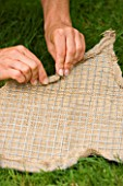 DESIGNER: CLARE MATTHEWS -THYME HEART PROJECT - PUTTING THE HESSIAN OVER THE WIRE MESH