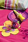 DESIGNER CLARE MATTHEWS: CHILDRENS PARTY - PLACE SETTING WITH FLOWERY PLATE  NAPKIN AND HOME MADE PARTY BAG
