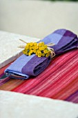 DESIGNER: CLARE MATTHEWS - NAPKIN WITH ACHILLEA AND STRING