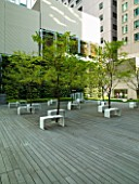 MARUNOUCHI HOTEL  TOKYO  JAPAN. MODERN FORMAL ROOF GARDEN WITH OFFICE BLOCKS - DECKED TERRACE WITH STONE SEATS  DECKING AND TREES
