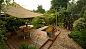CANVAS CANOPY IN KATHY TAYLORS SMALL TOWN GARDEN  LONDON. DECKING  SHADE  TABLE AND CHAIRS  GRAVEL