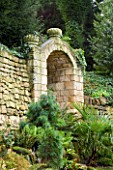 BRODSWORTH HALL  YORKSHIRE. ENGLISH HERITAGE. STONE ALCOVE IN THE VICTORIAN FERNERY