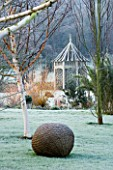 WOODPECKERS  WARWICKSHIRE  WINTER: FROSTY LAWN WITH WOODEN SUMMERHOUSE  BETULA HERGEST AND WOVEN WILLOW SCULPTURE