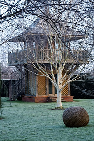 WOODPECKERS__WARWICKSHIRE__WINTER_FORMAL_GARDEN_IN_FROST_WITH_LAWN__WOVEN_WILLOW_SCULPTURE__BETULA_U