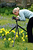 BLOND HAIRED GIRL  PHOTOGRAPHING WITH A TRIPOD IN A SPRING GARDEN