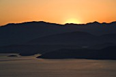 CORFU  GREECE: THE ALBANIAN COASTLINE AT DAWN. SUNRISE