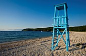 CORFU  GREECE: VIEW OF AVLAKI BEACH WITH LIFE GUARD WATCH TOWER