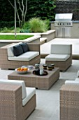 CONTEMPORARY TOWN/CITY/URBAN GARDEN DESIGNED BY CHARLOTTE SANDERSON: ENTERTAINING/RELAXING AREA WITH TABLE  CHAIRS AND SOFAS WITH BARBEQUE/OUTDOOR KITCHEN