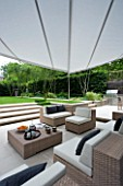 URBAN CONTEMPORARY MODERN MINIMALIST GARDEN DESIGNED BY CHARLOTTE SANDERSON: PATIO WITH TABLE AND CHAIRS  STEPS UP TO LAWN WITH AWNING OVERHEAD