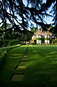 THE OLD RECTORY  HASELBECH  NORTHAMPTONSHIRE - LAWN WITH CEDAR OF LEBANON BESIDE THE LAWN WITH THE RECTORY BEHIND