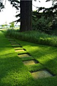 THE OLD RECTORY  HASELBECH  NORTHAMPTONSHIRE - LAWN WITH CEDAR OF LEBANON AND STEPPING STONE PATH MADE OF SLABS LAID INTO THE GRASS