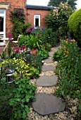 AMELIA HEATH GARDEN  1  CROSS VILLAS  SHROPSHIRE: PATIO BESIDE HOUSE - WOODEN TABLE  CHAIRS  PERGOLA  LANTERN  GLADIOLUS COMMUNIS BYZANTINUS  ACONITUM  GRAVEL PATH  STEPPING STONES