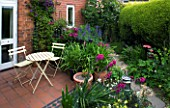 AMELIA HEATH GARDEN  1  CROSS VILLAS  SHROPSHIRE: PATIO BESIDE THE HOUSE - WOODEN TABLE AND CHAIRS  PERGOLA  LANTERN  GLADIOLUS COMMUNIS BYZANTINUS  ACONITUM  PATH